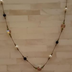 """Necklace / Crystal, Bead & Pearl / 20"""""""